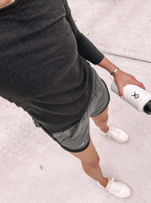 Fashion Jackson Wearing Zella Long Sleeve Workout Shirt Nike Tempo Dri-Fit Shorts APL Techloom Sneakers