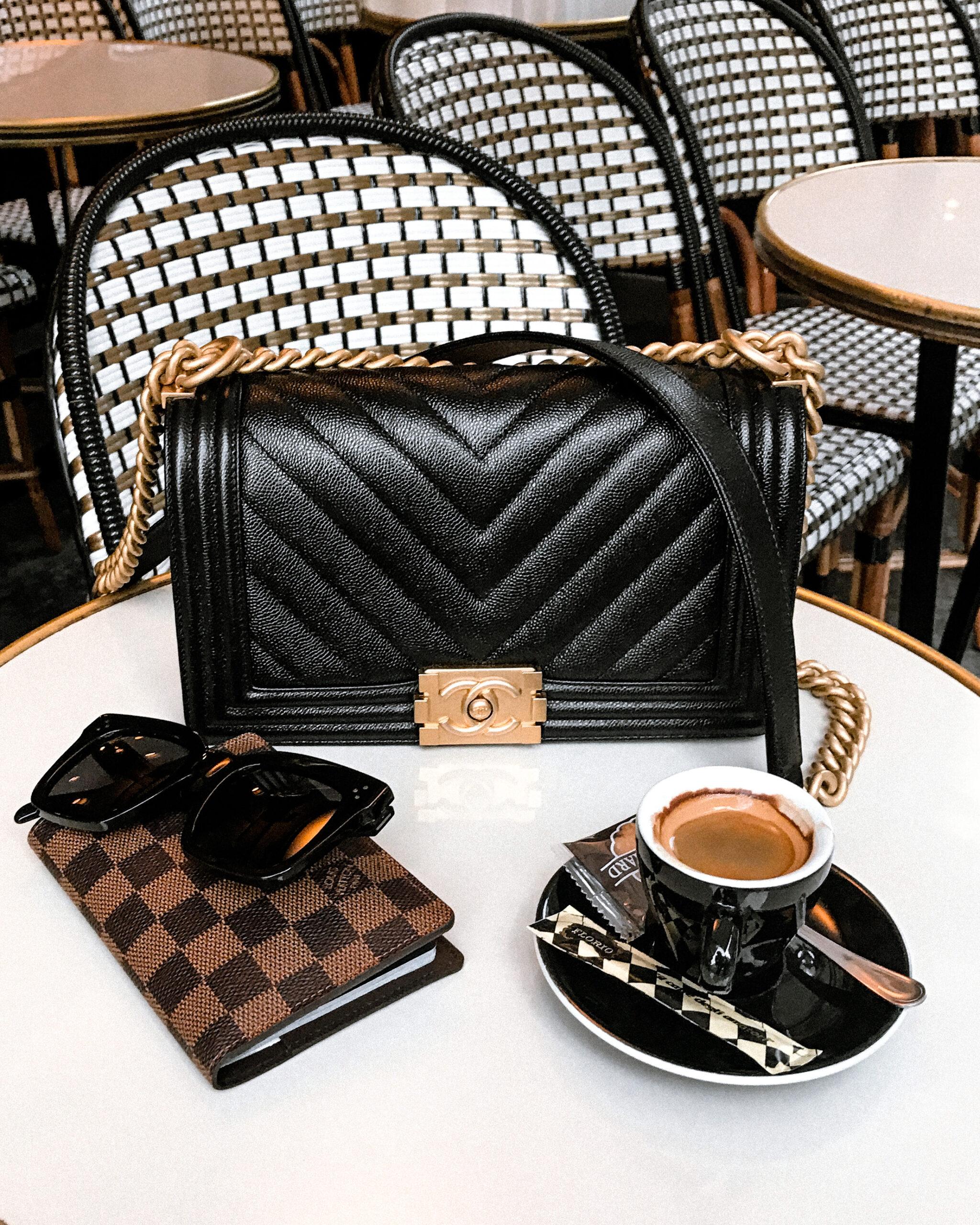 Paris Cafe Chanel Boy Bag Black Chevron Celine Sunglasses Louis Vuitton Passport Holder