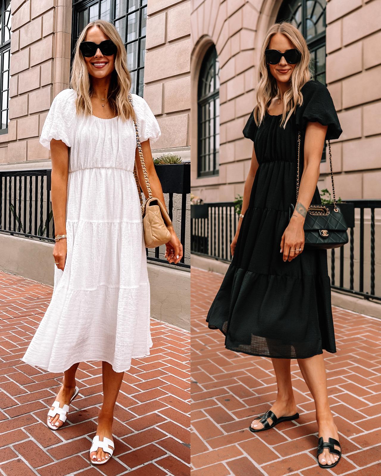 Fashion Jackson Wearing White Midi Dress White Hermes Sandals Black Midi Dress Black Hermes Sandals