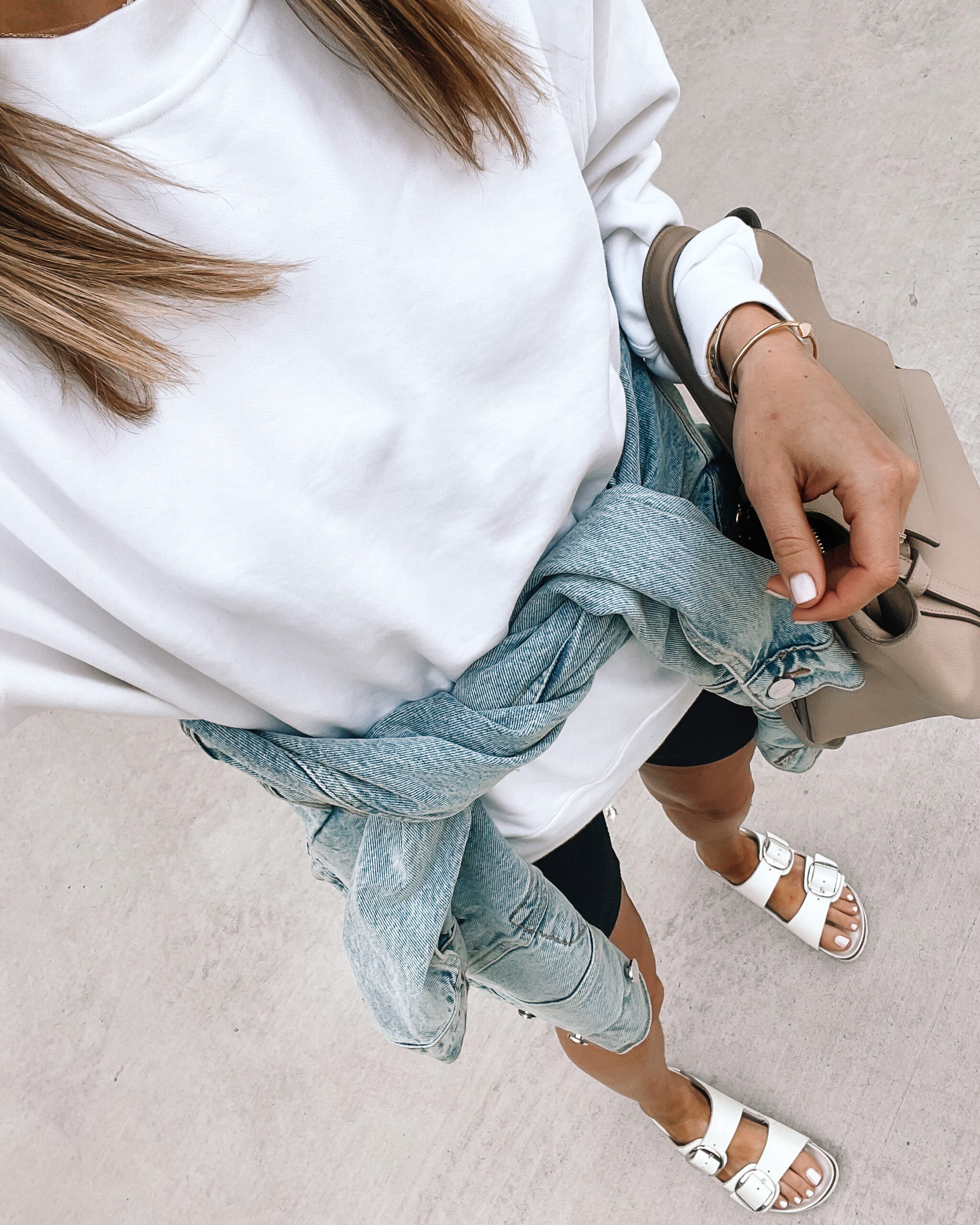 Fashion Jackson Wearing White Sweatshirt Black Biker Shorts Denim Jacket White Birkenstock Sandals