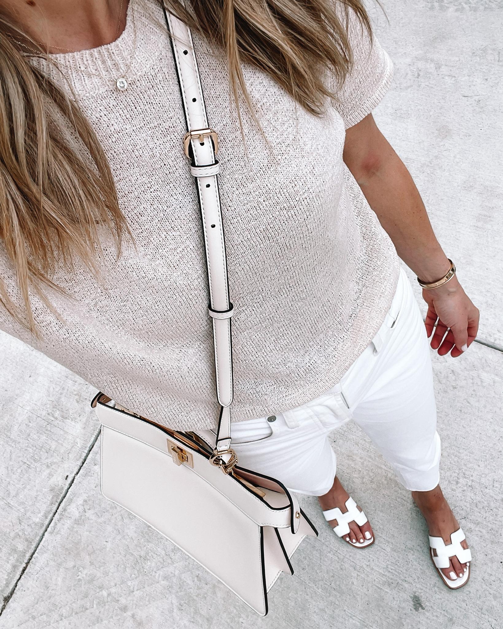 Fashion Jackson Wearing Amazon Fashion Beige Short Sleeve Sweater White Skinny Jeans Hermes White Sandals