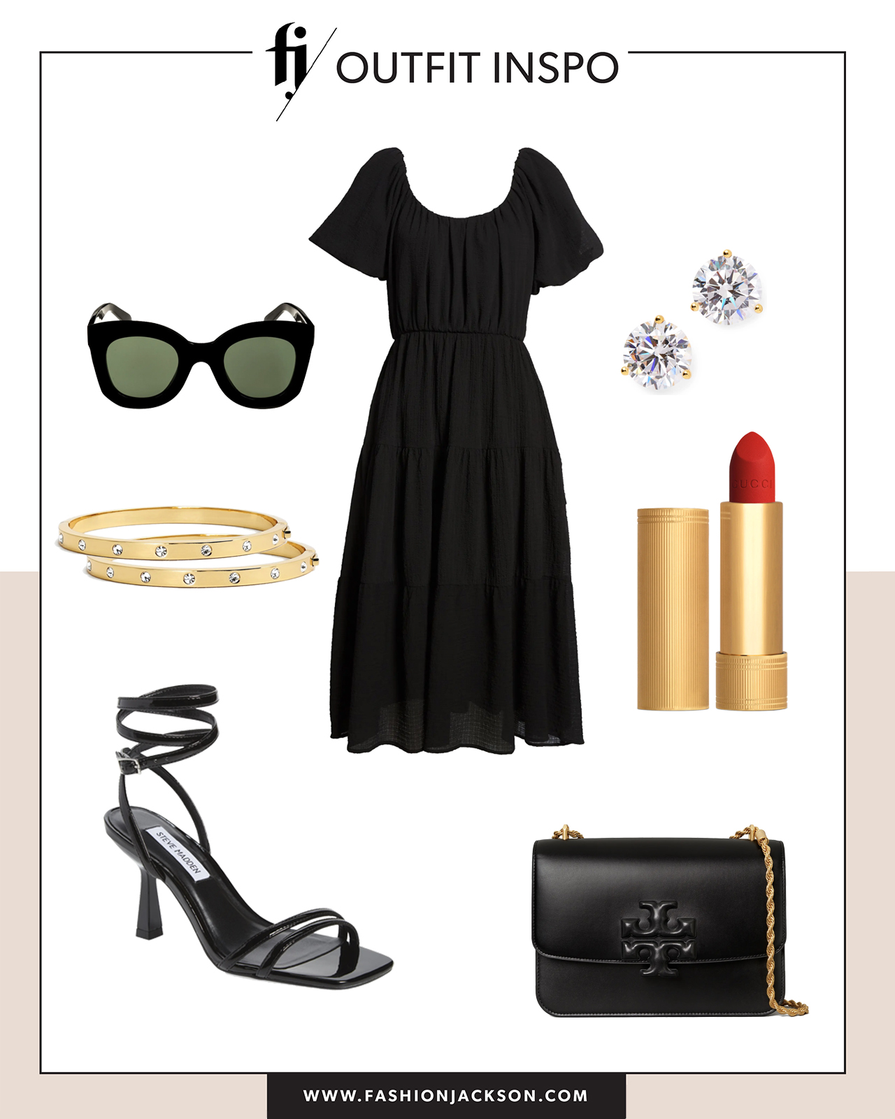 black dress with dressy sandals summer outfit idea