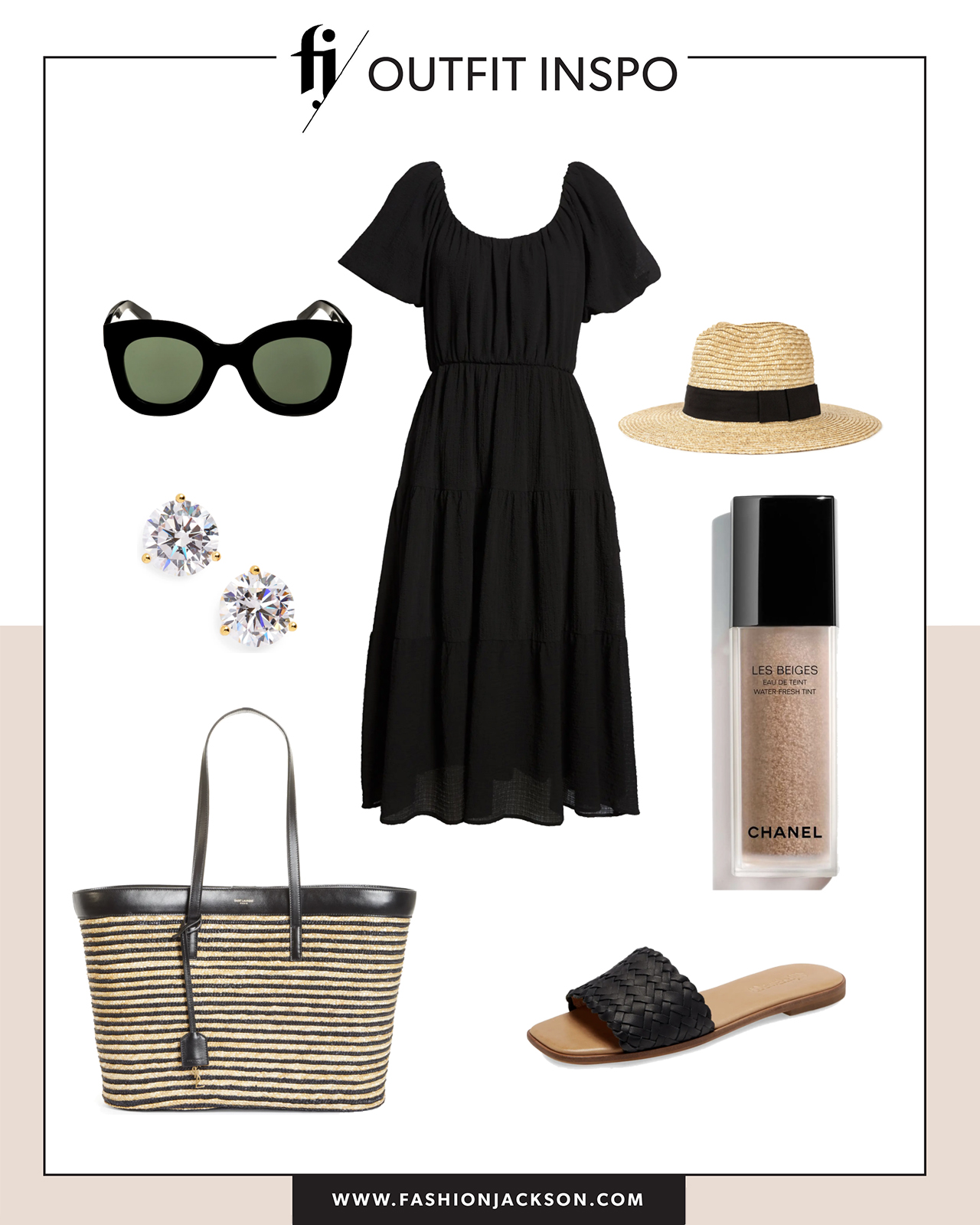 black dress with sandals summer outfit idea