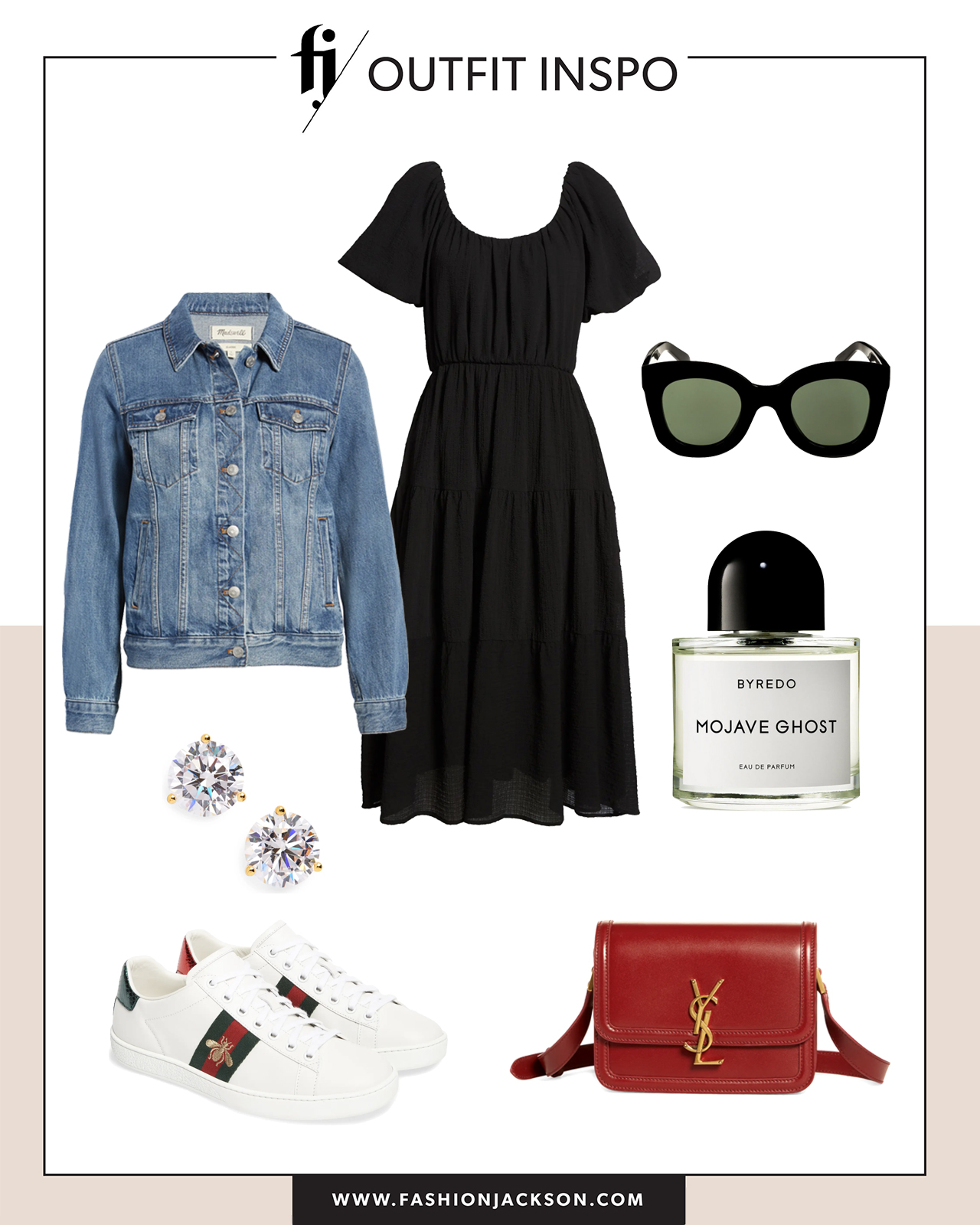 black dress with sneakers outfit idea