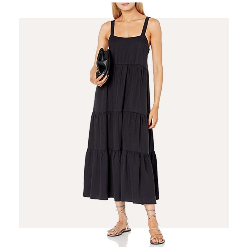 Amazon The Drop Black Tiered Maxi Dress