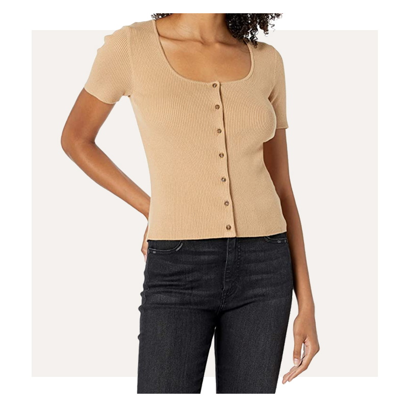 Amazon The Drop Maxine Short Sleeve Square Neck Button Front Rib Cardigan