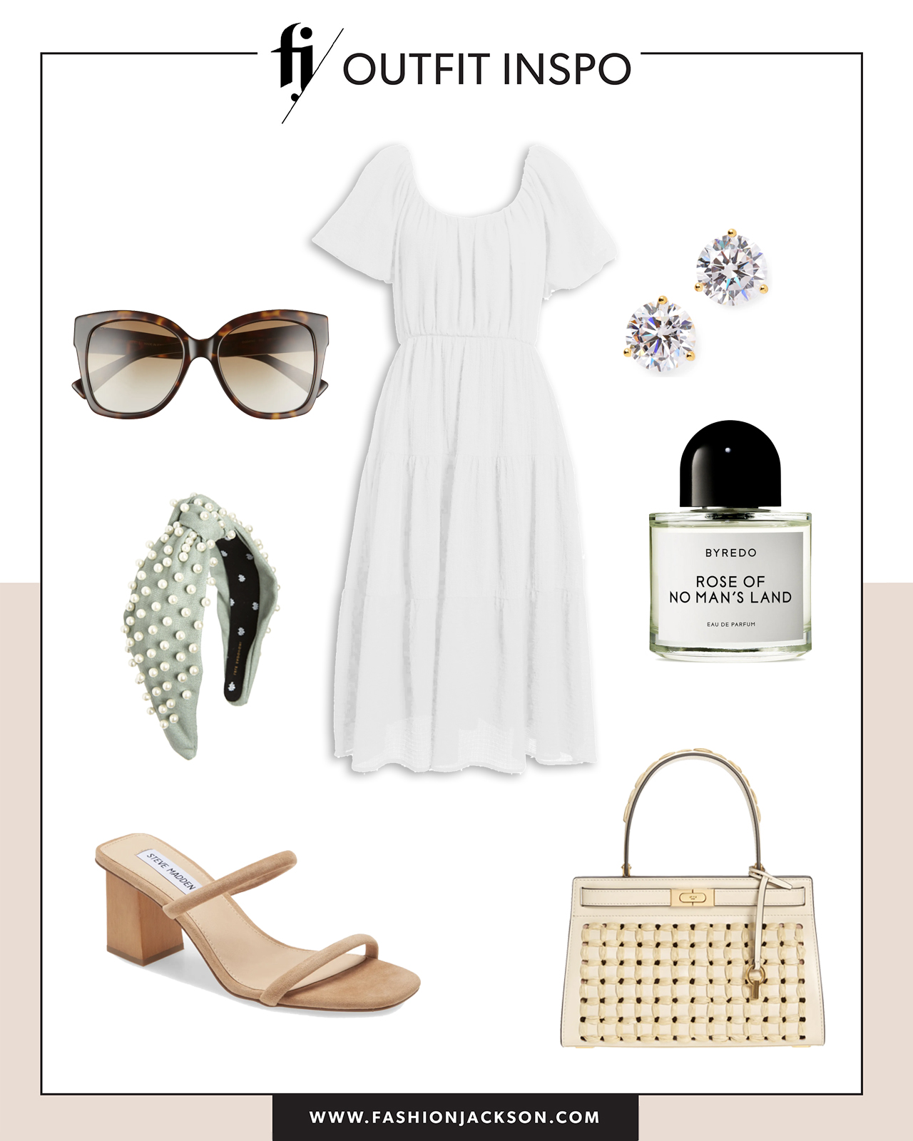 white dress with dressy sandals summer outfit idea