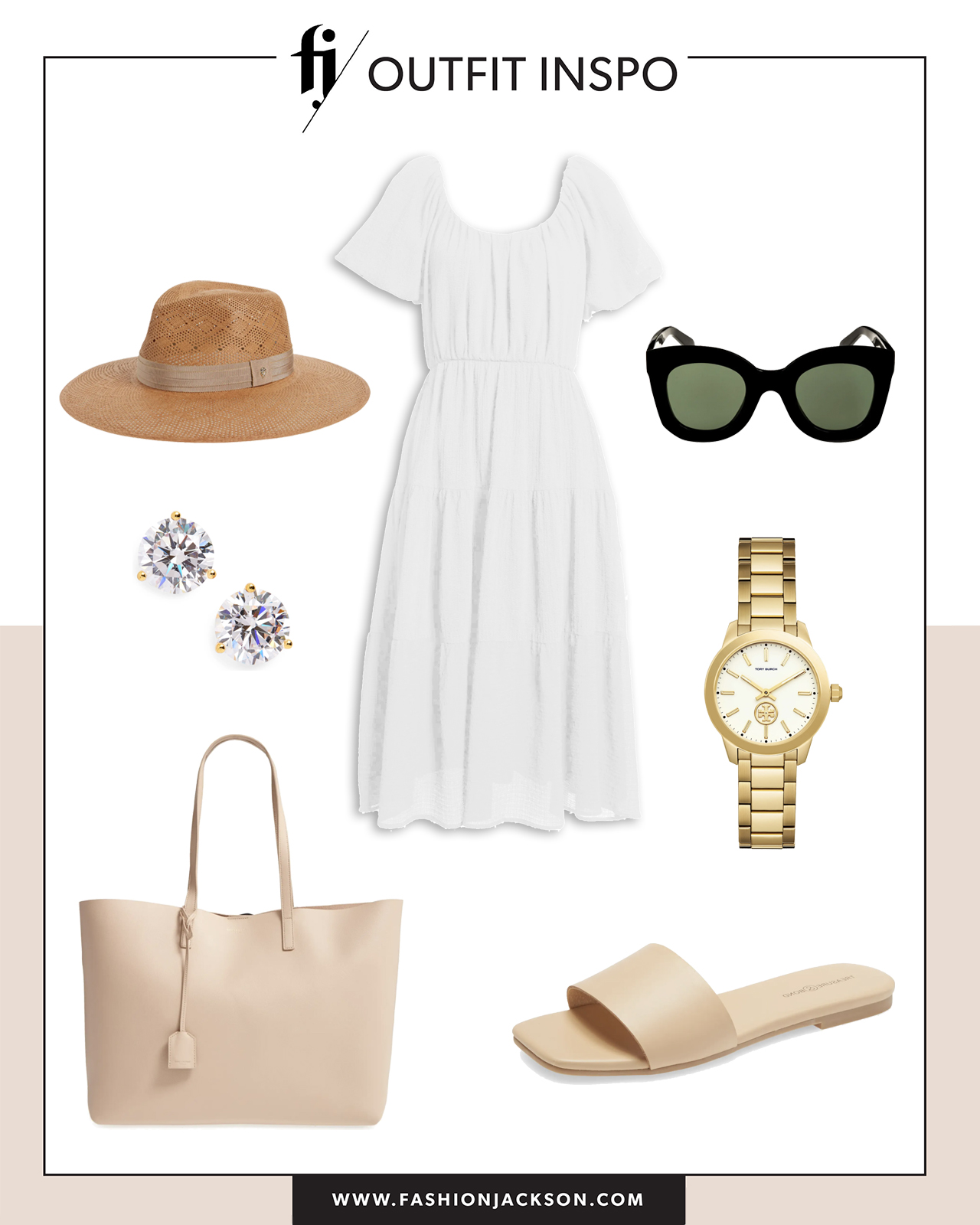 white dress with sandals summer outfit idea