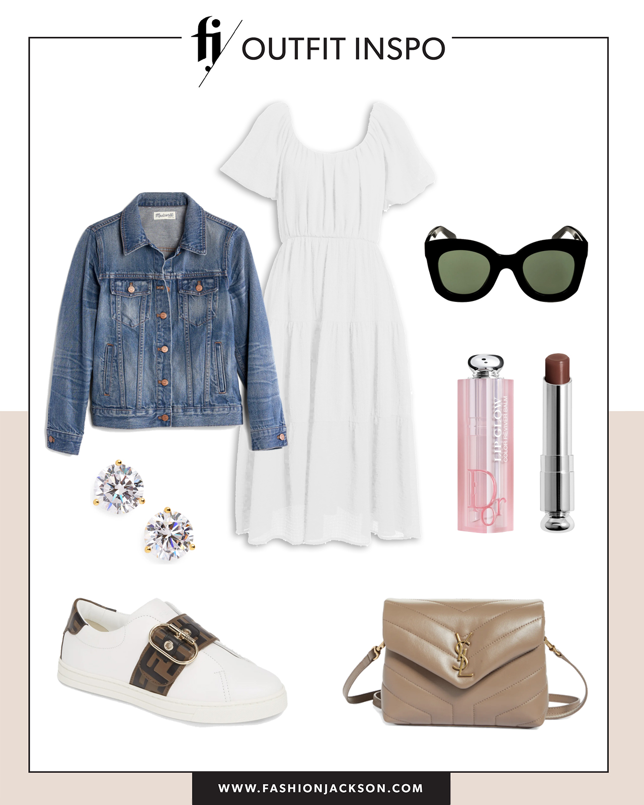 white dress with sneakers outfit idea