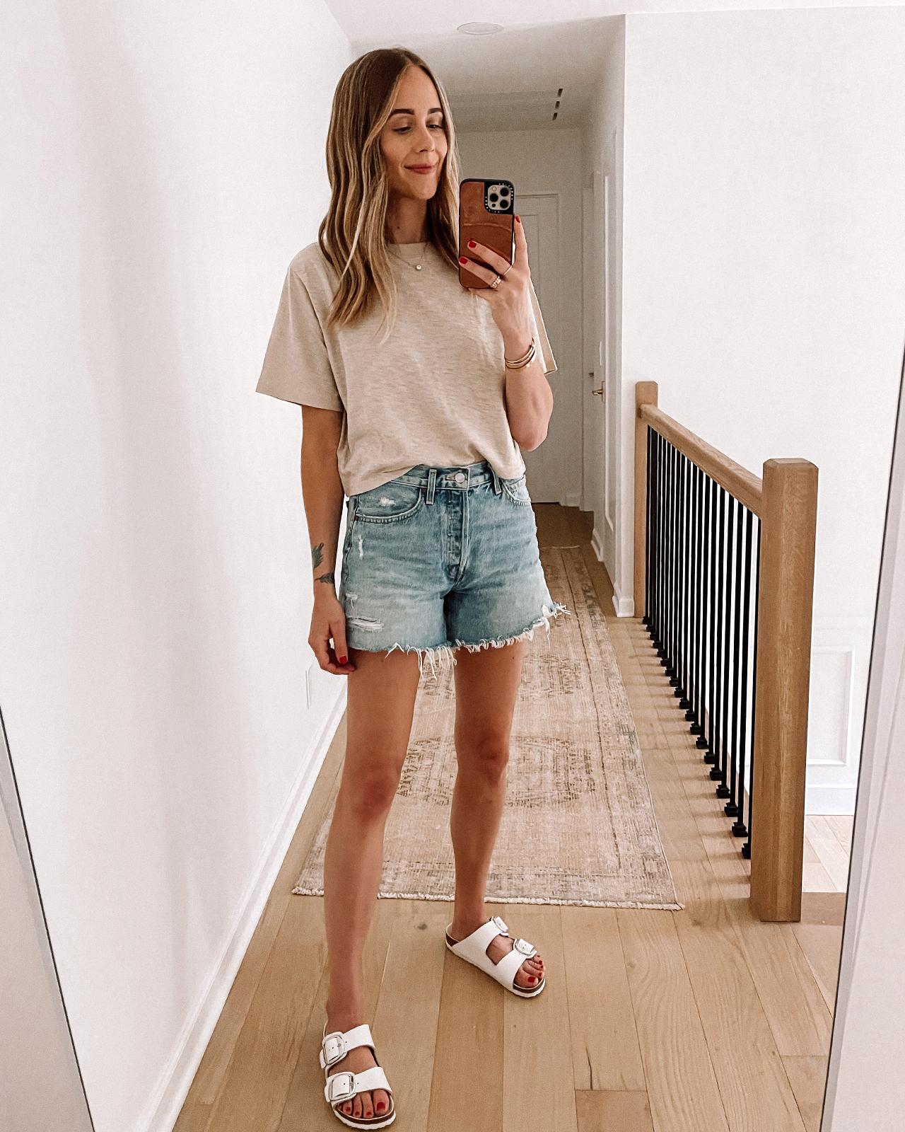 Fashion Jackson Amazon Fashion Haul Summer Beige Tshirt Denim Shorts White Birkenstock Sandals