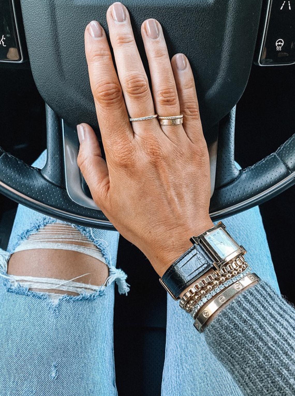 Fashion Jackson Tiramisu for two by OPI Gel Manicure Hermes Watch Gold Bracelets
