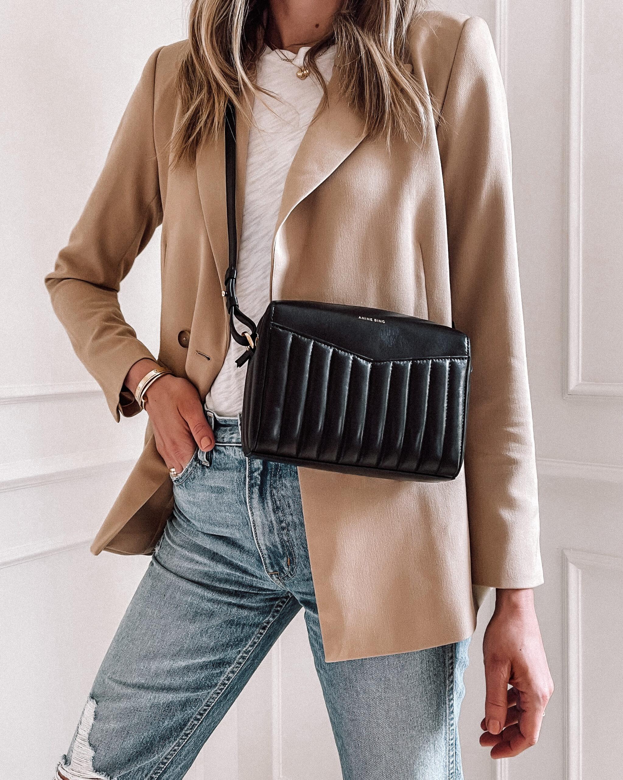 Fashion Jackson Wearing Anine Bing Ellis Bag Black Tan Blazer White Tshirt Ripped Jeans designer bags under 1000