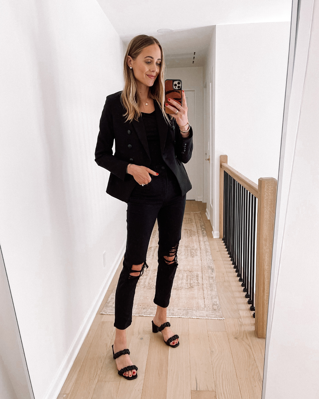 Fashion Jackson Wearing Black Blazer Black Bodysuit Black Ripped Jeans Black Sandals Express Haul