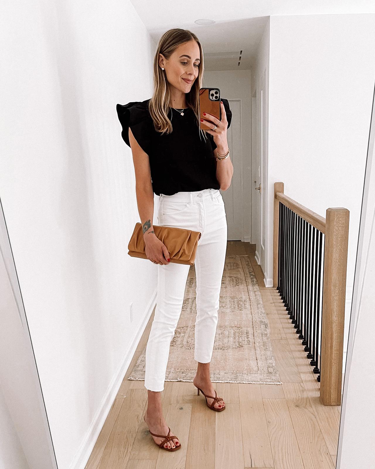 Fashion Jackson Wearing Black Flutter Sleeve Bodysuit White Skinny Jeans Tan Sandals Tan Clutch Express Haul
