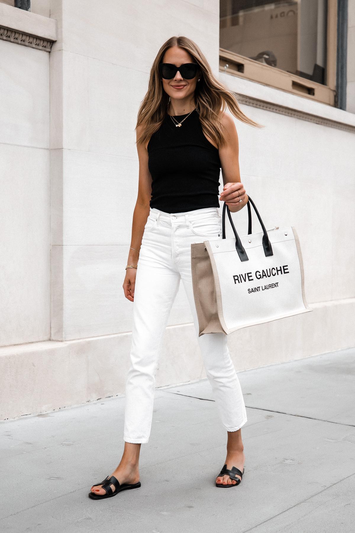 Fashion Jackson Wearing Black Tank White Skinny Jeans Hermes Oran Black Sandals Saint Laurent Rive Gauche Logo Tote Bag Street Style