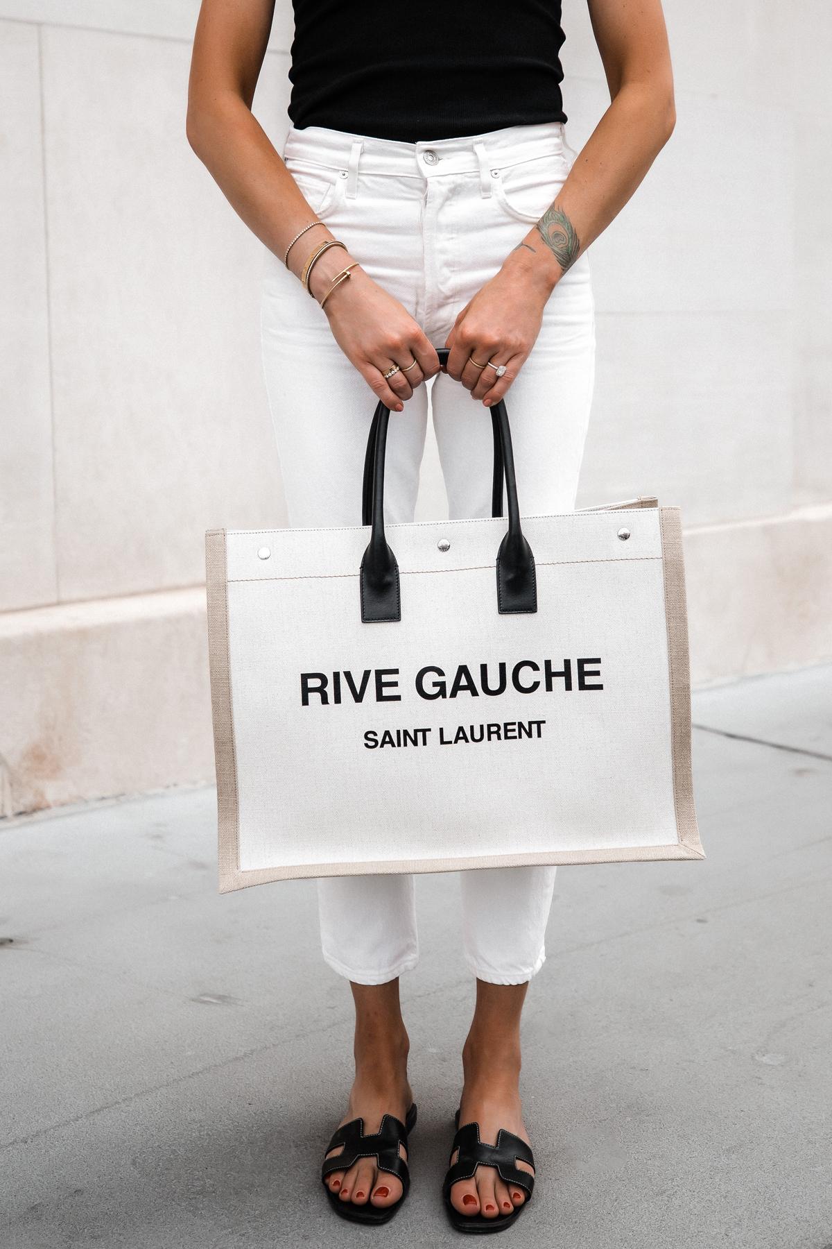 Fashion Jackson Wearing Black Tank White Skinny Jeans Hermes Oran Black Sandals Saint Laurent Rive Gauche Logo Tote Bag