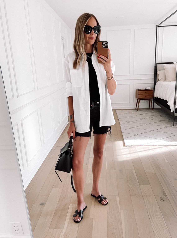Fashion Jackson Wearing Jenni Kane Boyfriend Shirt Levis Shorts Black Top Black Hermes Sandals