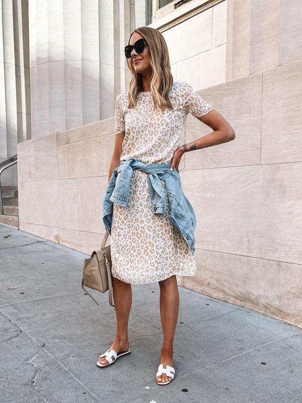 Fashion Jackson Wearing Jenni Kayne Leopard Silk Midi Dress