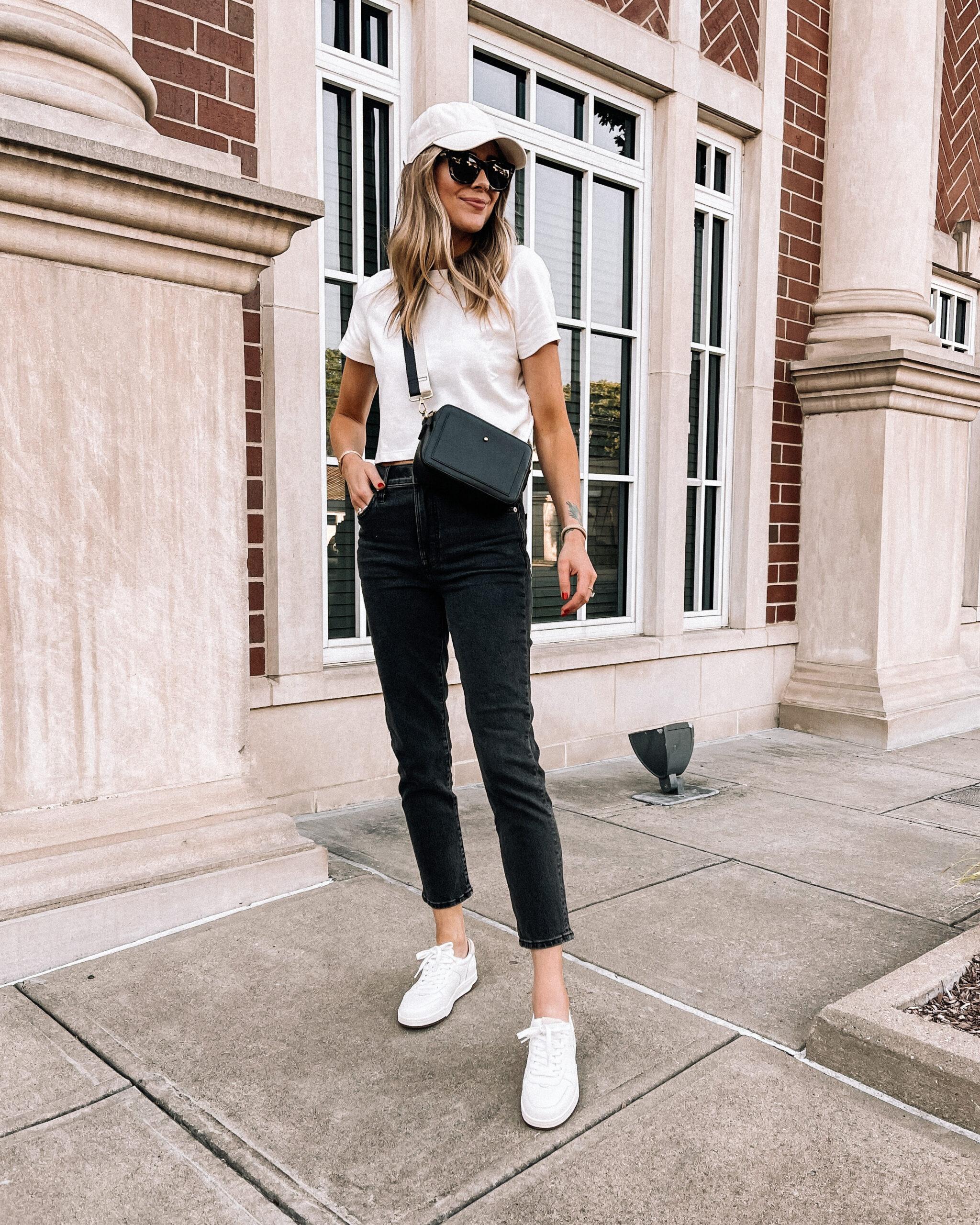 Fashion Jackson Wearing Madewell White Tshirt Black Jeans White Baseball Hat White Sneakers Black Crossbody Handbag