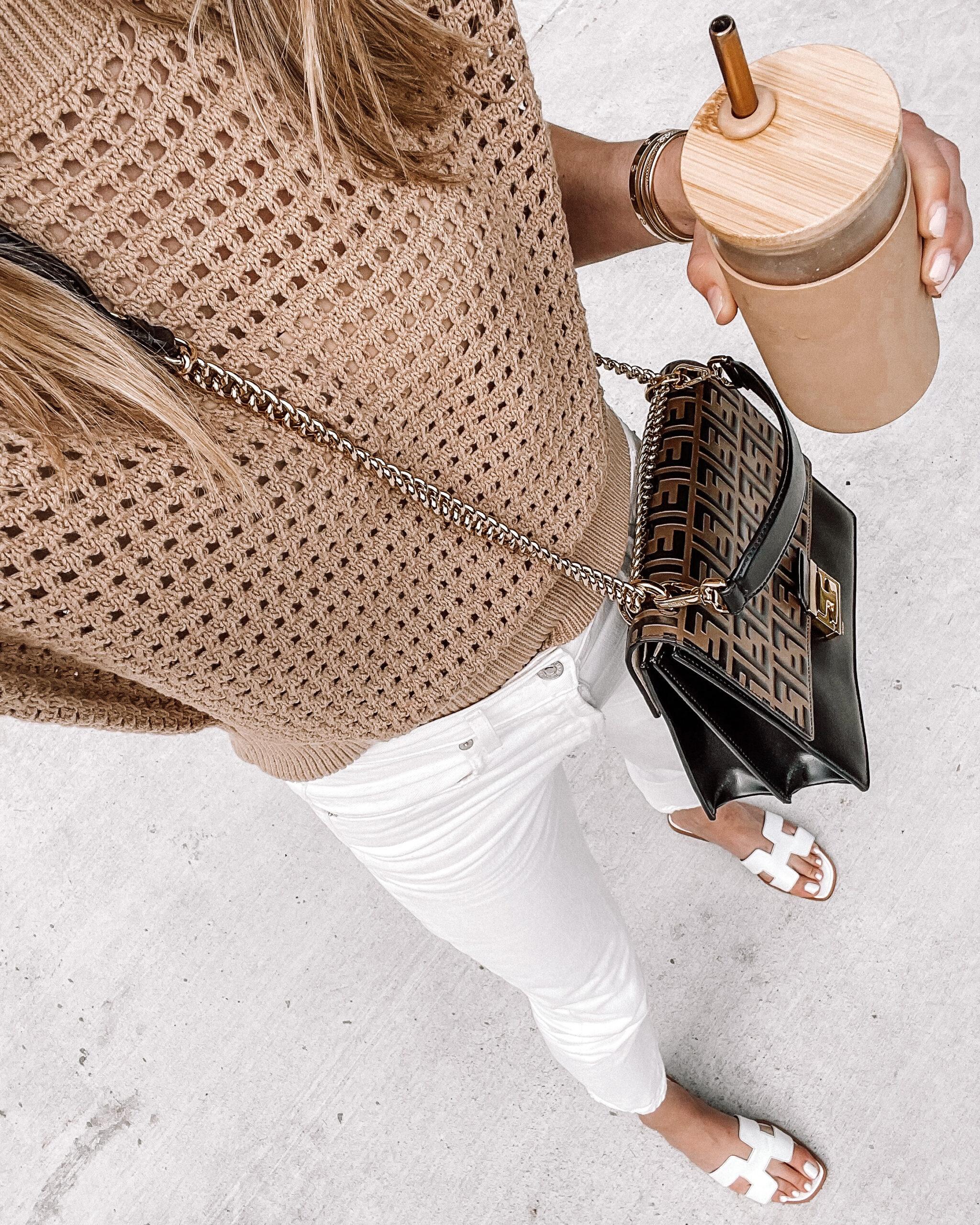 Fashion Jackson Wearing Tan Crochet Short Sleeve Sweater White Jeans White Hermes Sandals Fendi Handbag