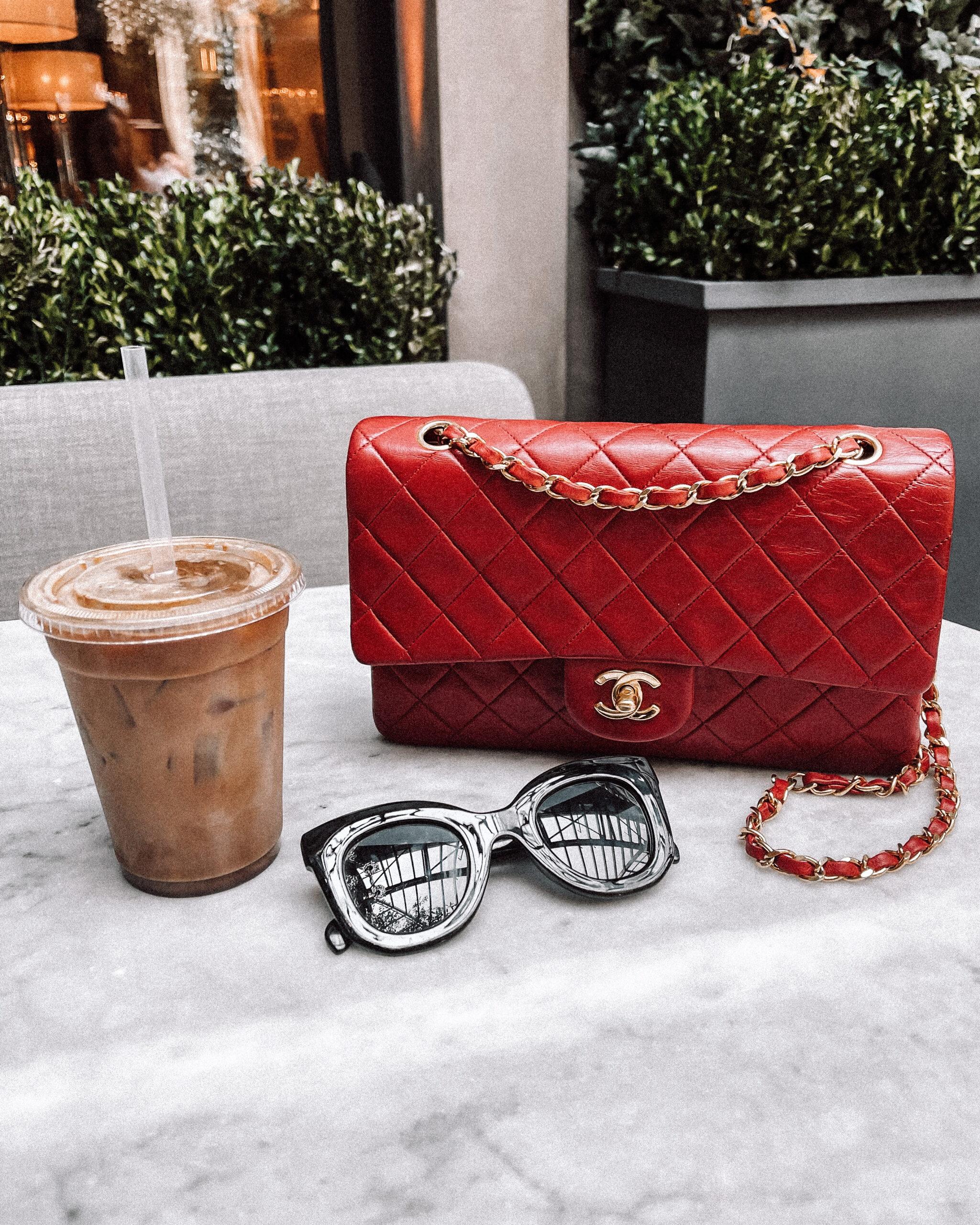 Fashion Jackson Red Chanel Handbag Black Sunglasses Iced Coffee