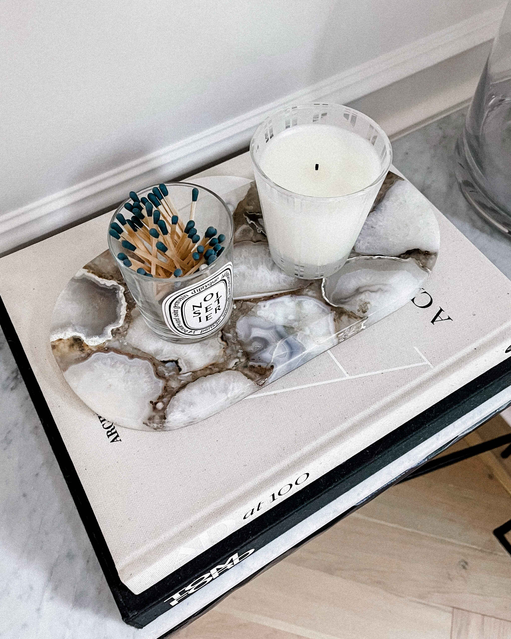 Fashion Jackson Coffee Table Books Diptyque Candle Marble Entry Table