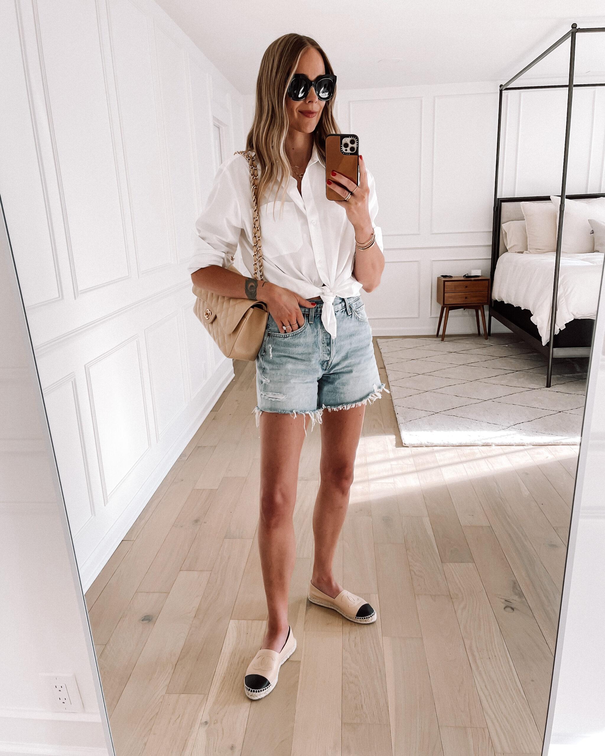 Fashion Jackson Wearing White Button Up Shirt AGOLDE Denim Shorts Chanel Espadrilles