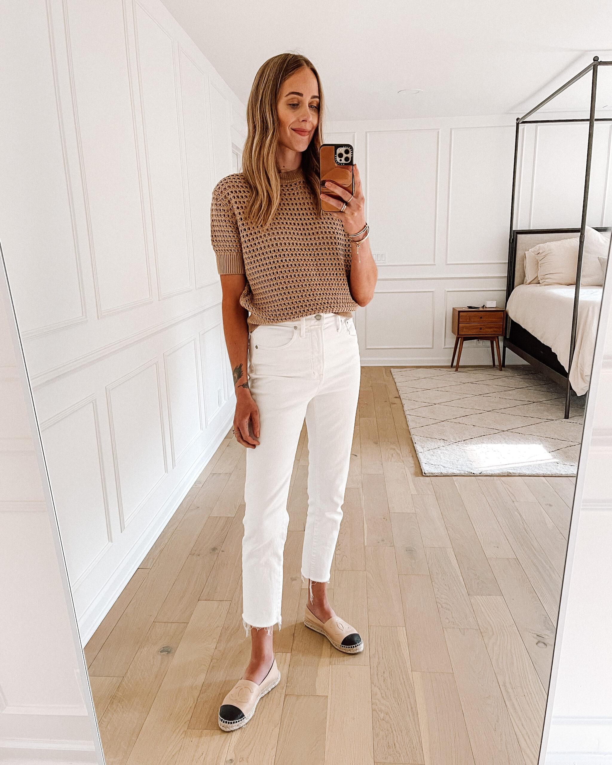 Fashion Jackson Wearing Beige Tan Knit Short Sleeve Sweater White Raw Hem Jeans Chanel Espadrilles