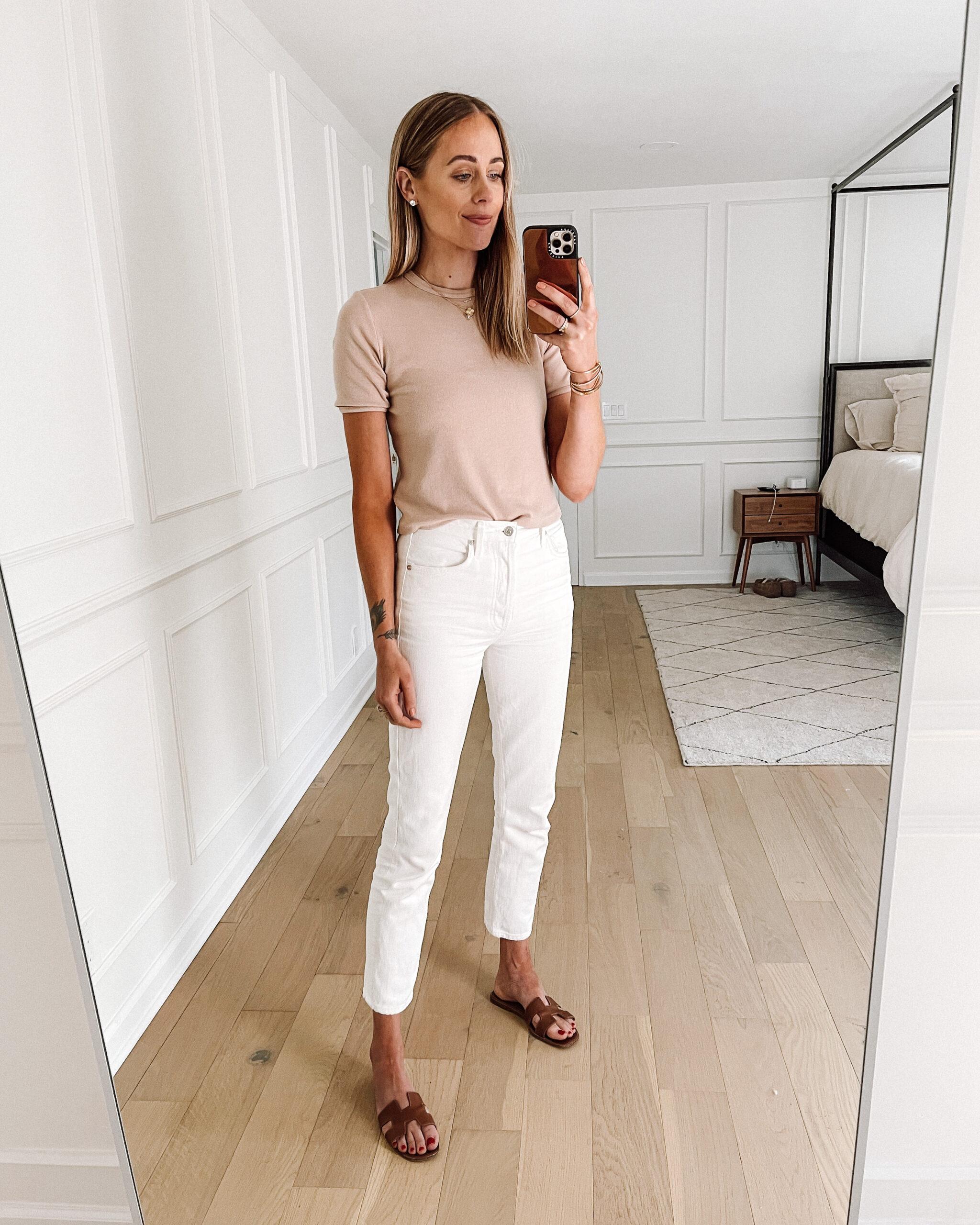 Fashion Jackson Wearing Blush Top White Jeans Hermes Oran Tan Sandals