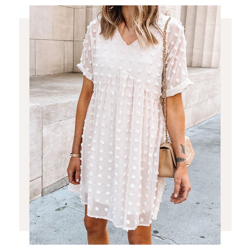 fashion jackson wearing amazon fashion swiss dot beige summer dress