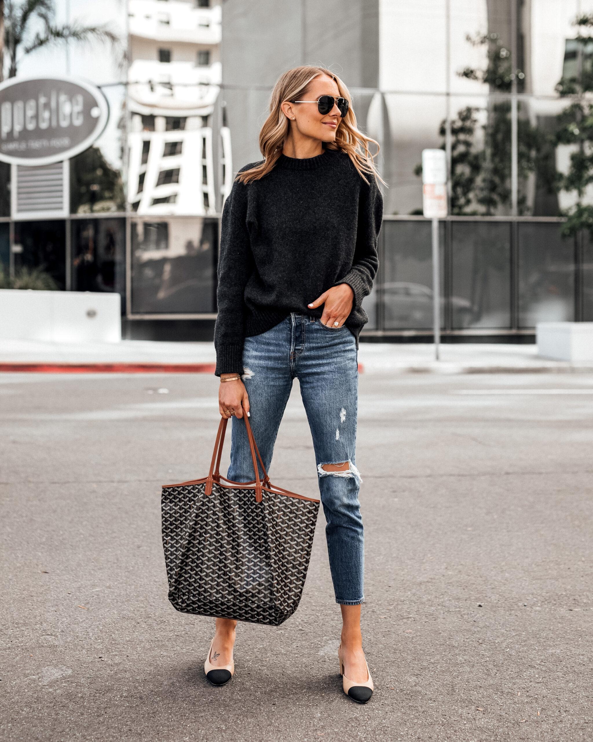 Fashion Jackson Wearing Grey Sweater Levis Ripped Jeans Goyard Tote Chanel Slingbacks