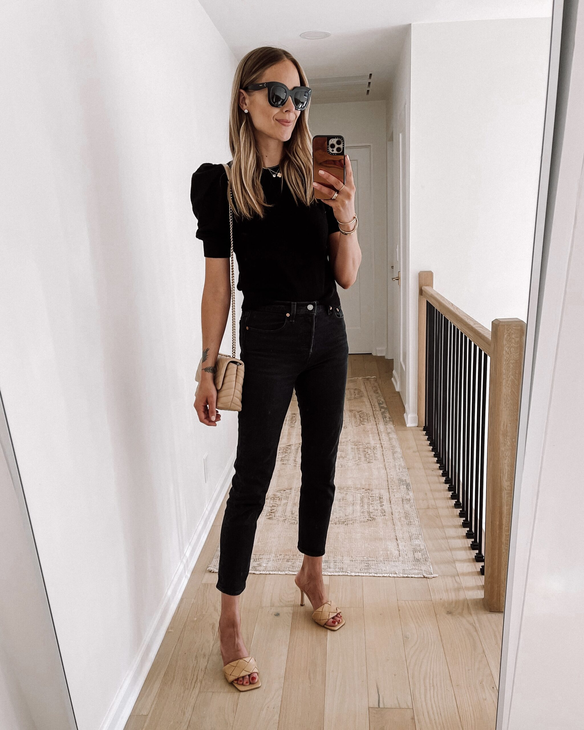 Fashion Jackson Black Puff Sleeve Sweater Black Levis Jeans Tan Woven Heeled Sandals Womens Fall Shoe Trends