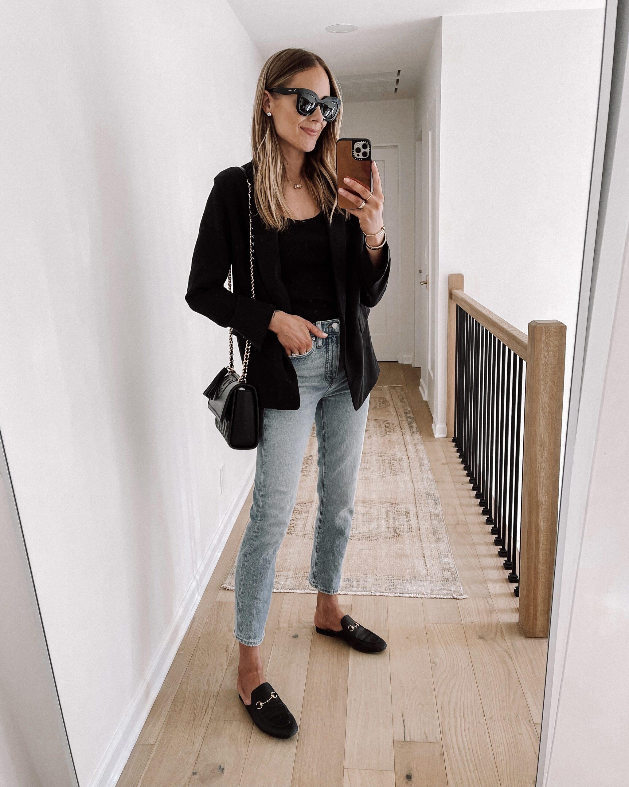 Fashion Jackson Wearing Black Blazer Denim Jeans Black Gucci Mules Womens Fall Shoe Trends