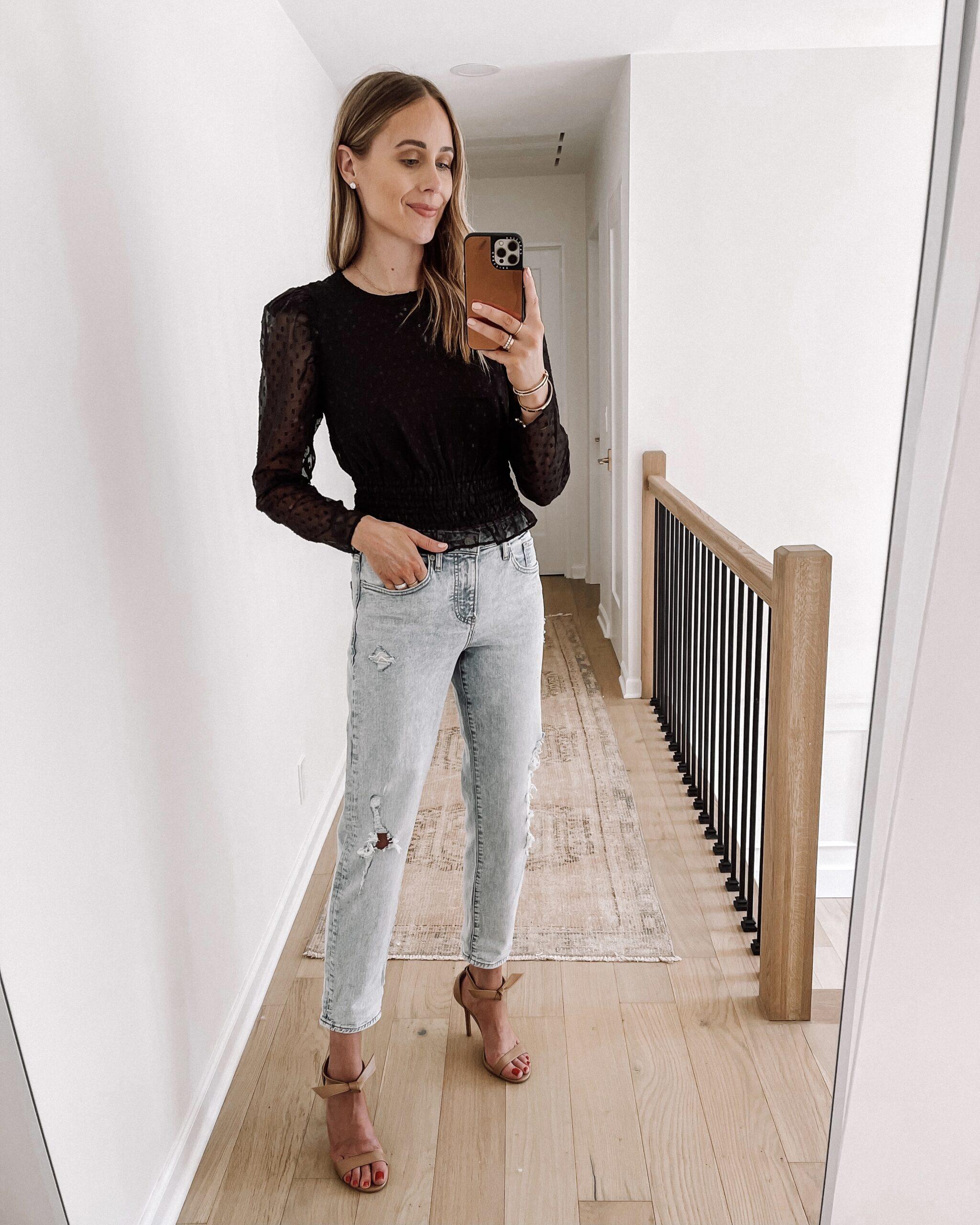 Fashion Jackson Wearing Express Distressed Boyfriend Jeans Black Long Sleeve Blouse Tan Heeled Sandals