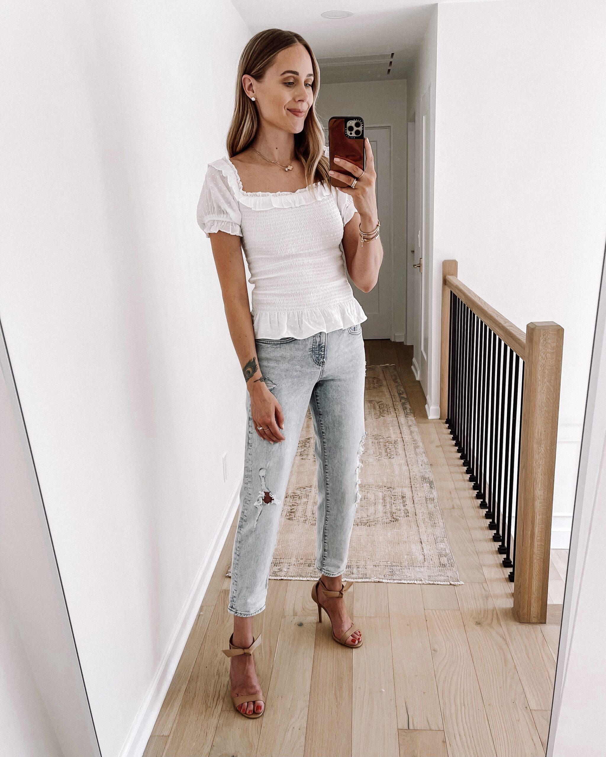 Fashion Jackson Wearing Express Distressed Boyfriend Jeans White Smocked Top Tan Heeled Sandals