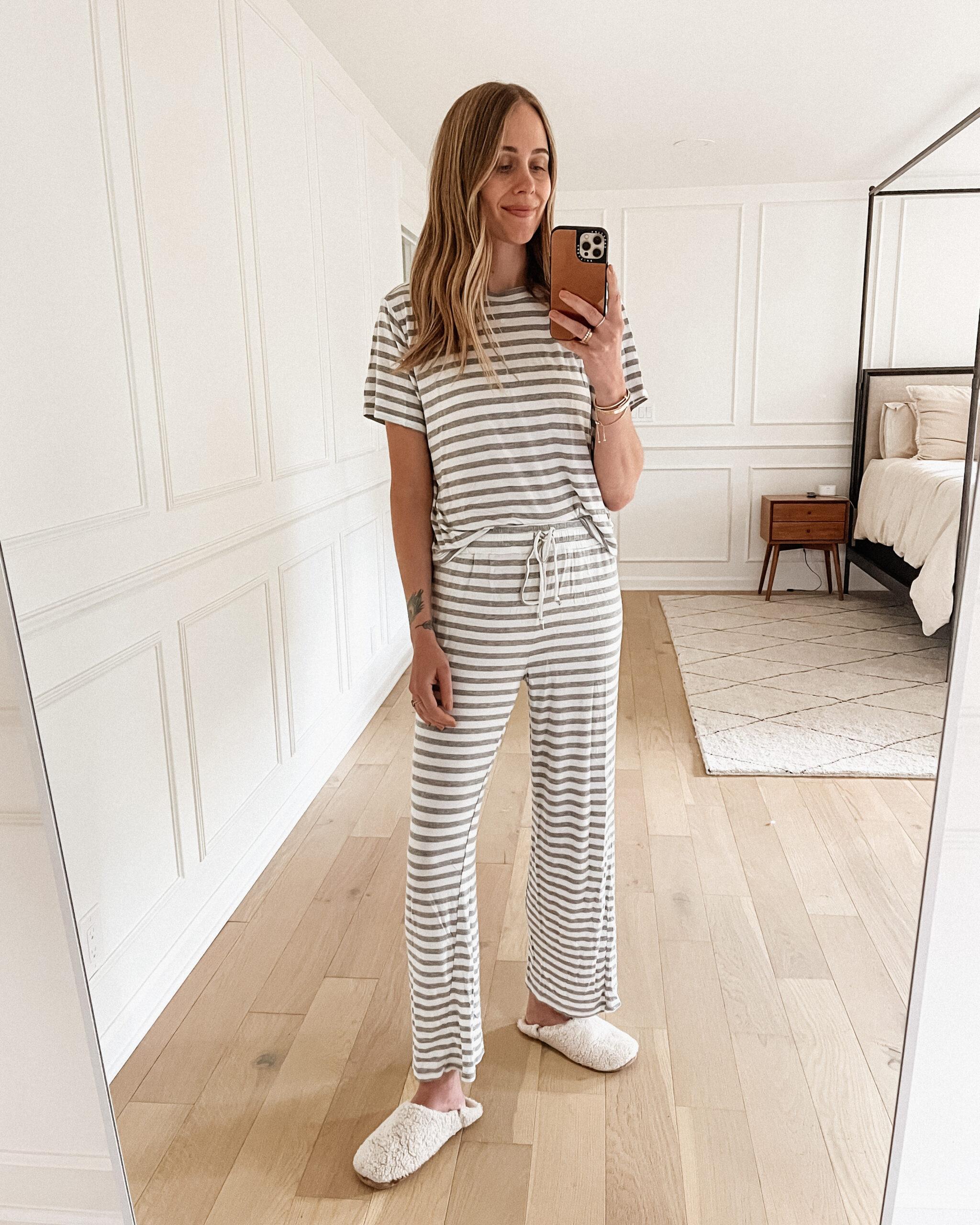 Fashion Jackson Wearing Honeydew Grey White Stripe Pajama Set Jenni Kayne Shearling Slippers