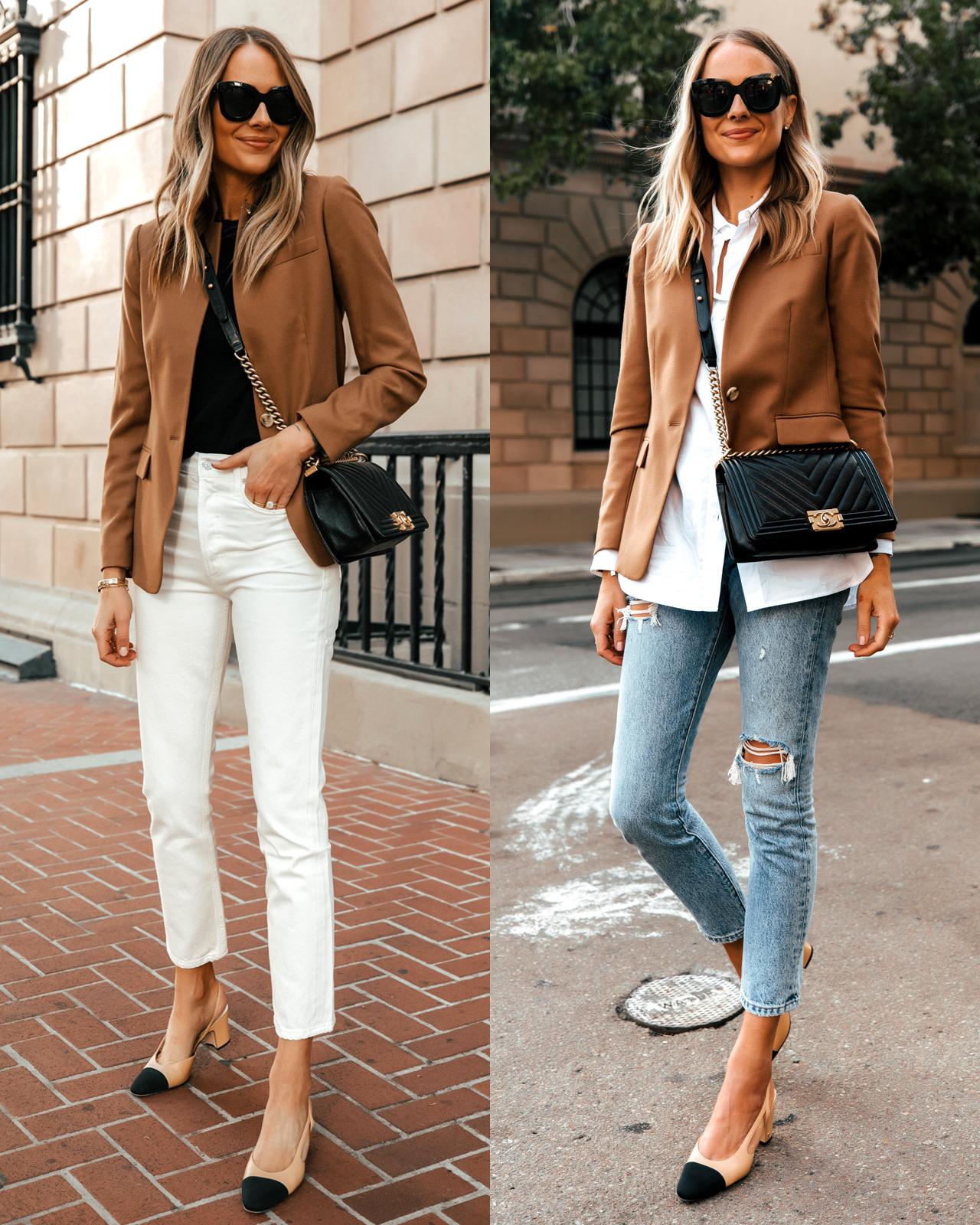 Fashion Jackson Wearing Jcrew Camel Blazer Workwear Outfit Idea