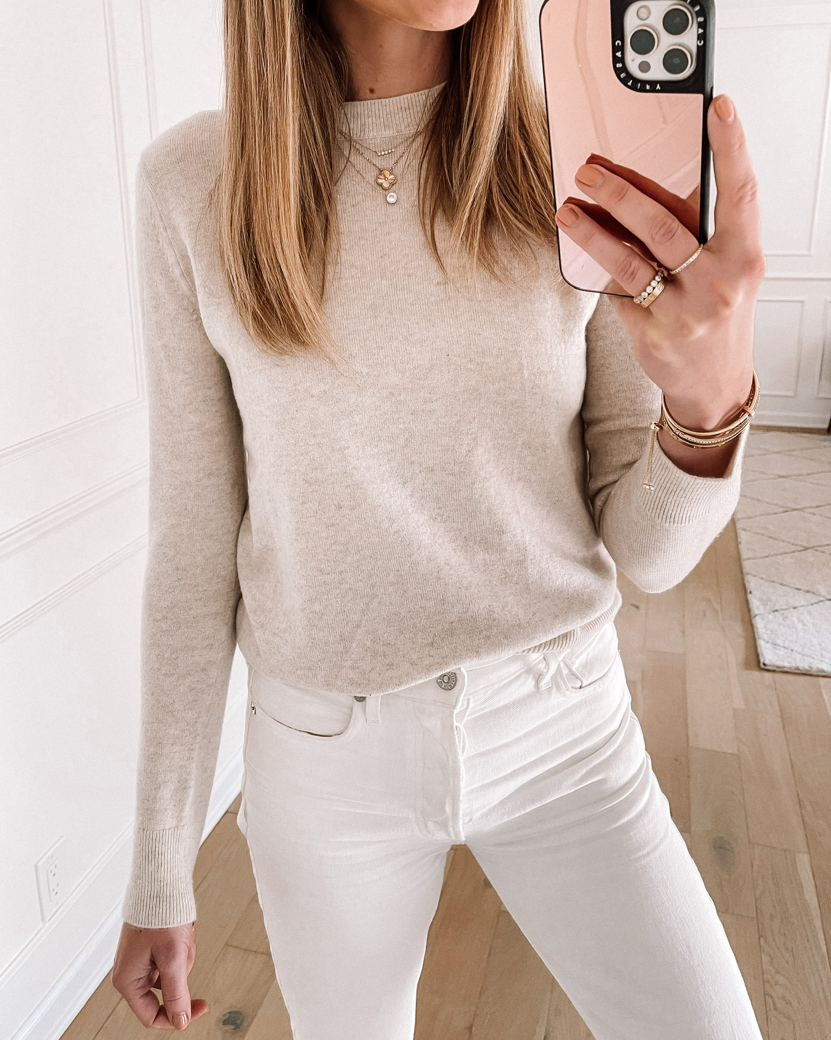 Fashion Jackson Wearing Nordstrom Anniversary Sale Ivory Cashmere Sweater White Jeans