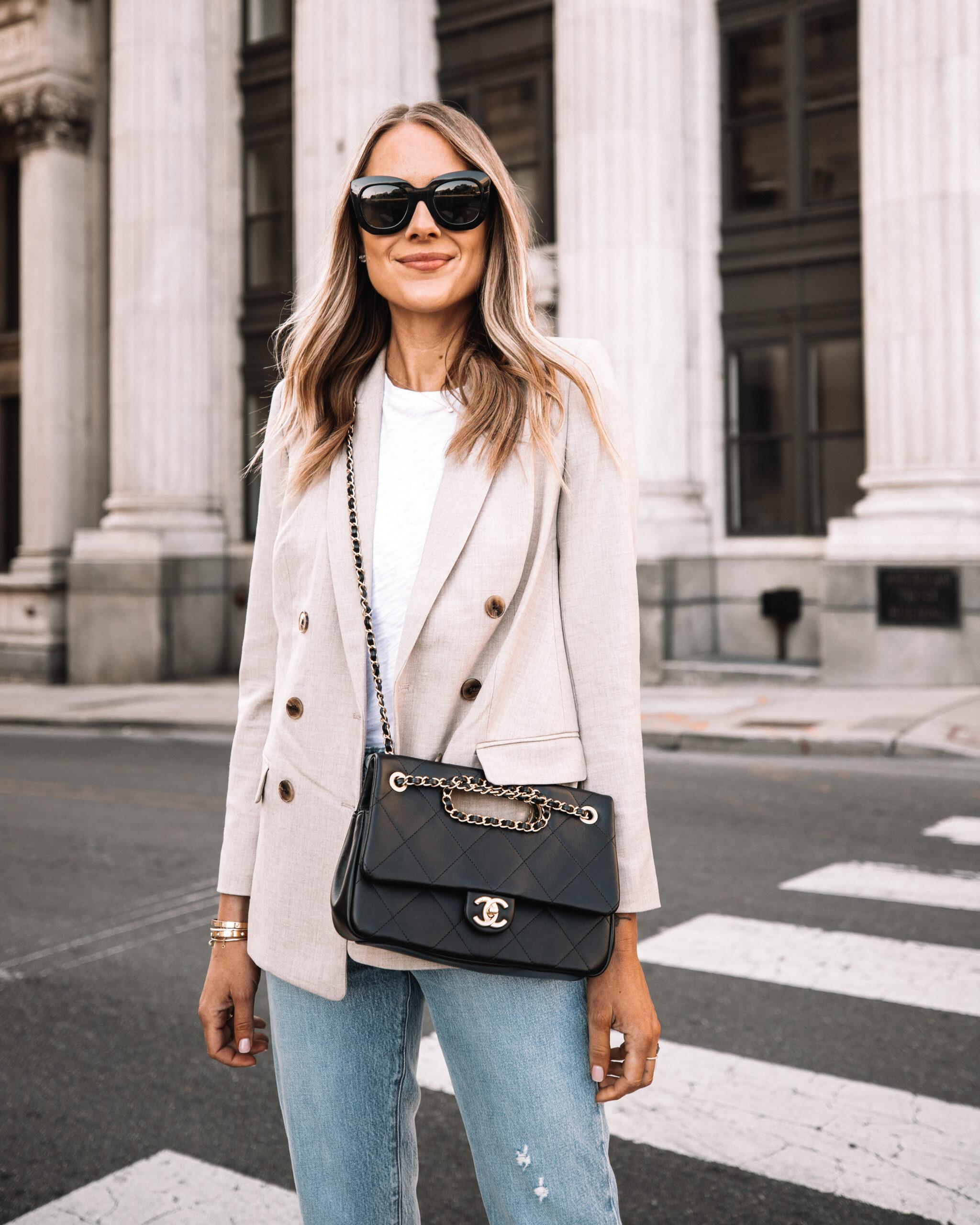Fashion Jackson Wearing Express Beige Blazer Outfit White Tshirt Jeans Black Chain Chanel Handbag Black Celine Sunglasses