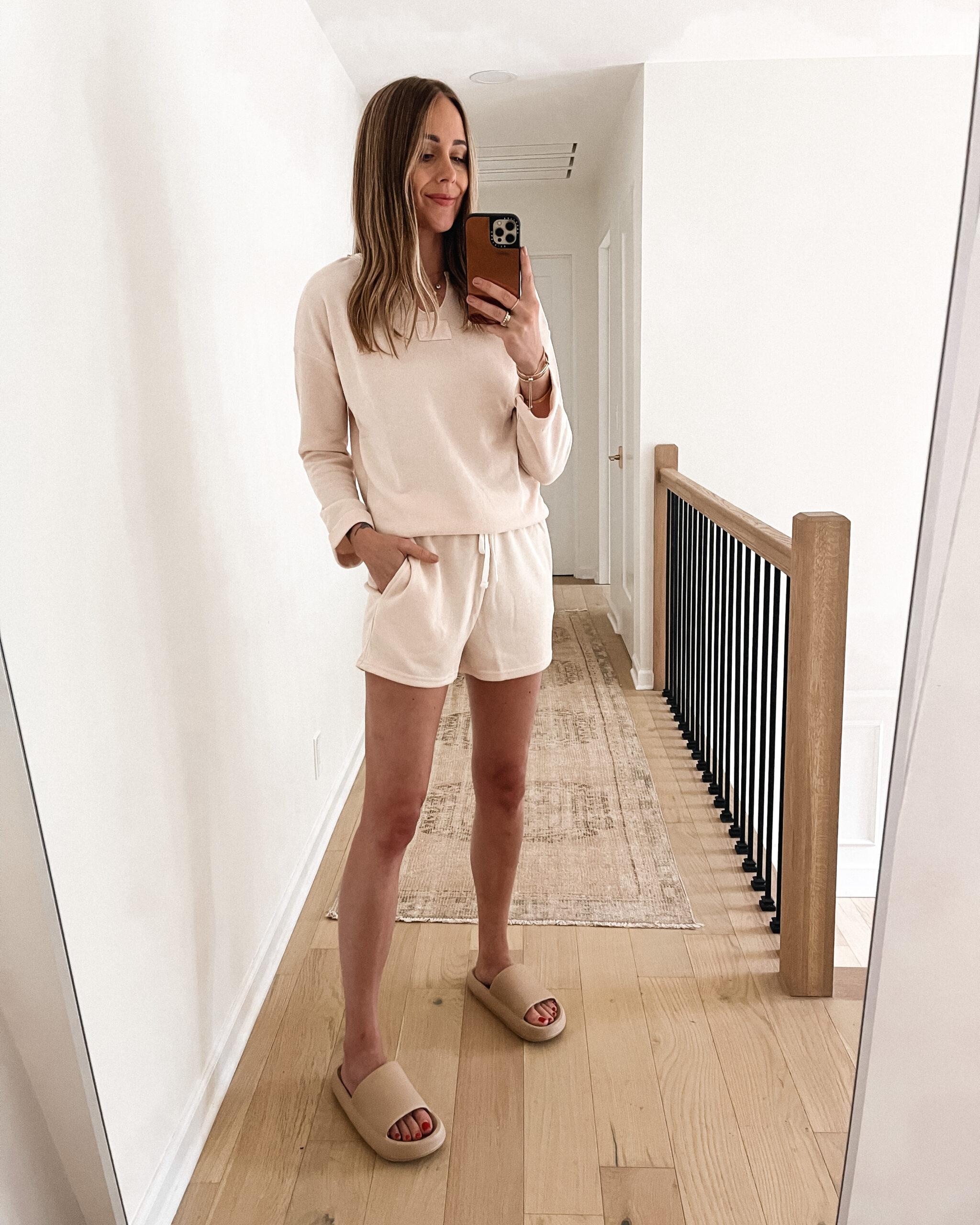 Fashion Jackson Wearing Amazon Fashion Blush Thermal Pajamas Pillow Slides