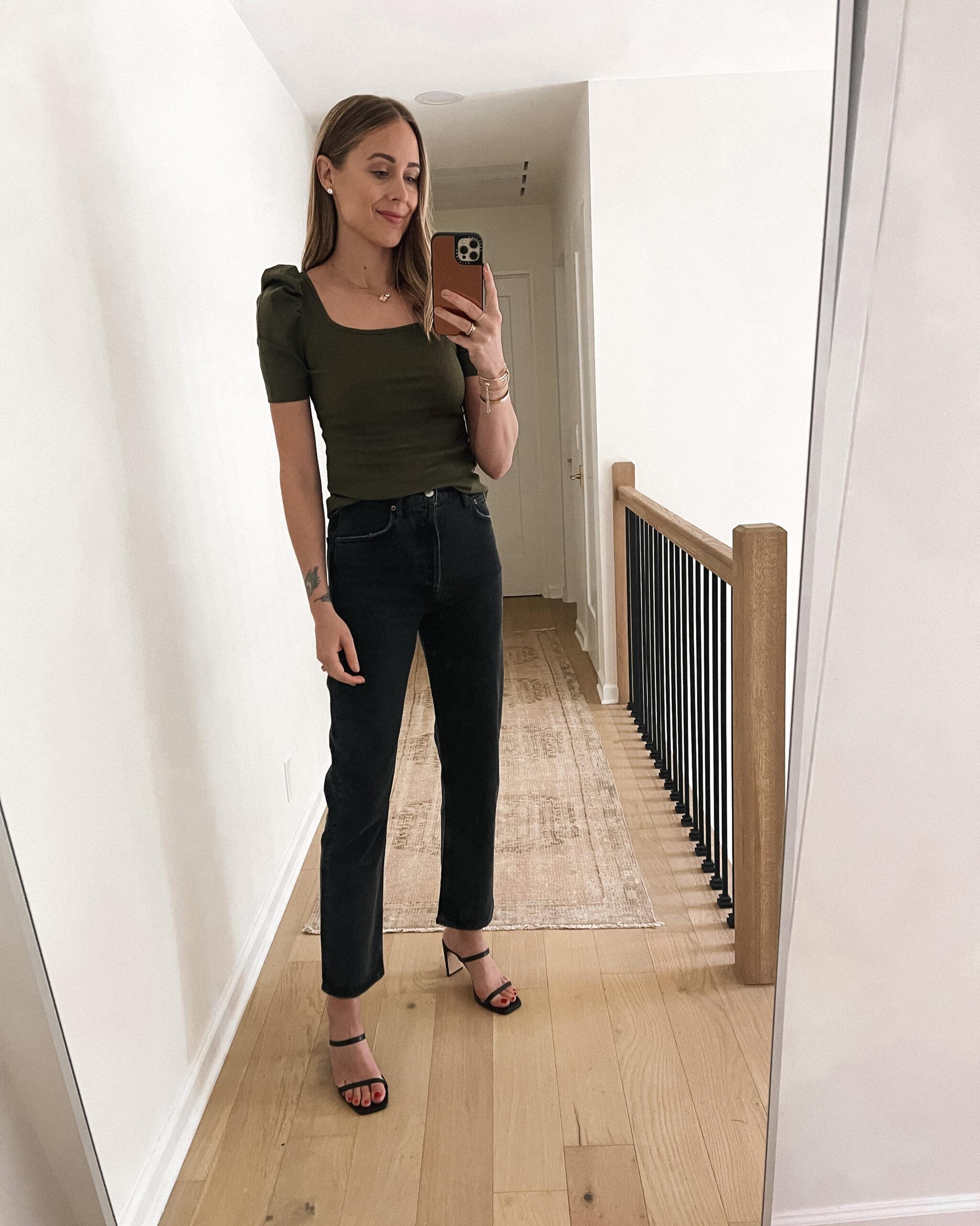 Fashion Jackson Wearing Amazon Fashion Green Puff Sleeve Top Black Jeans Black Heeled Sandals