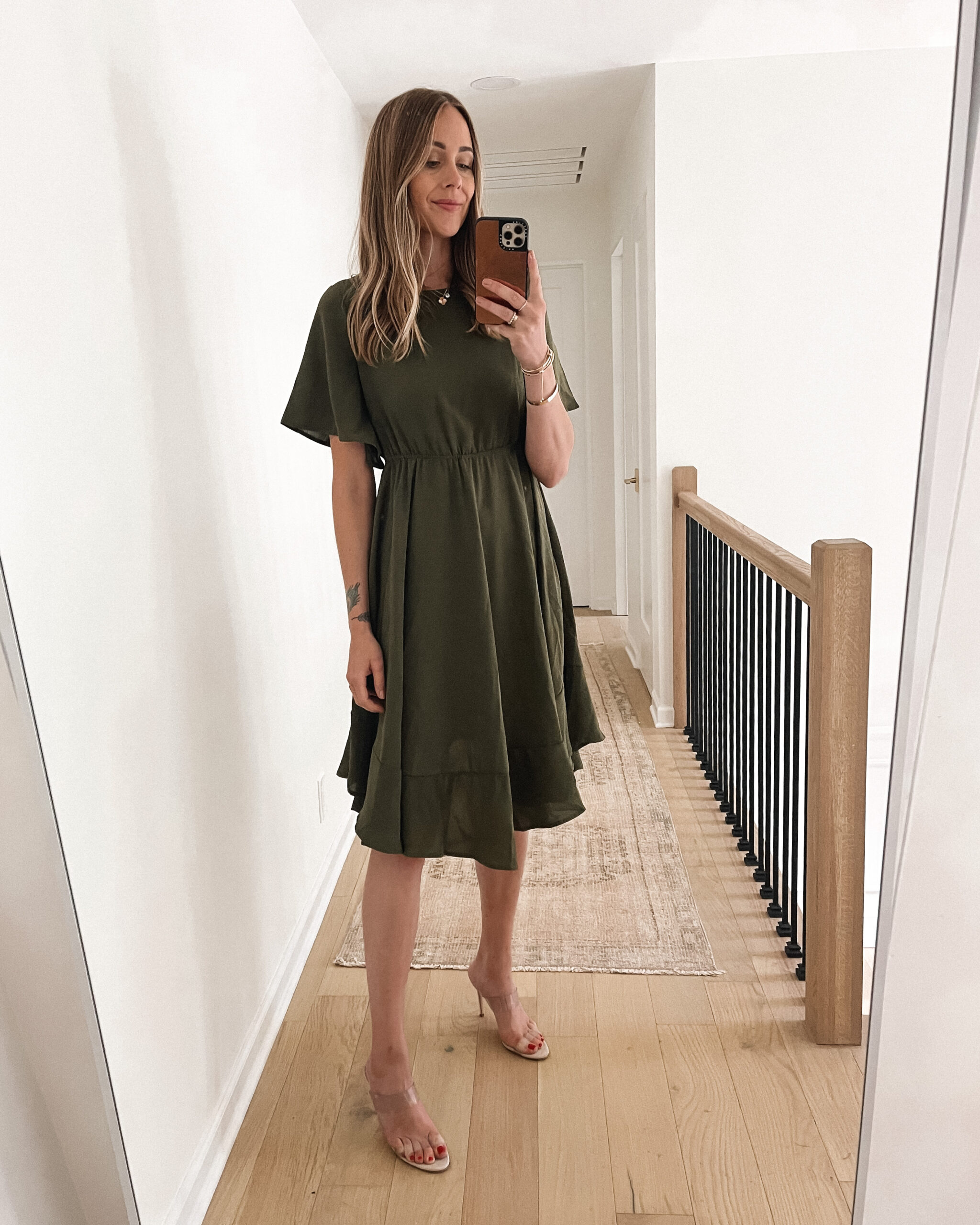 Fashion Jackson Wearing Amazon Fashion Olive Green Ruffle Midi Dress Clear Heeled Sandals