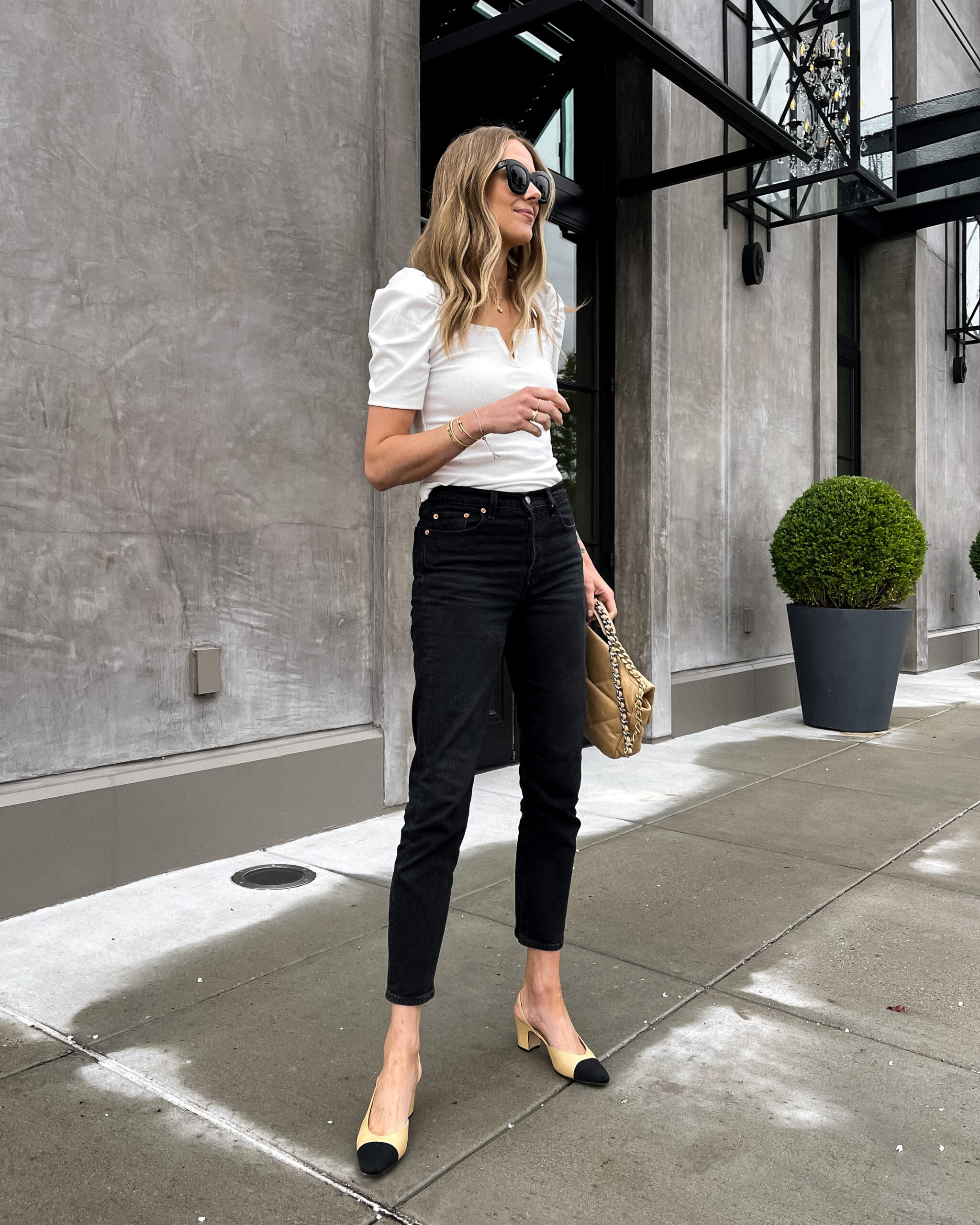 Fashion Jackson Wearing Amazon Fashion White Puff Sleeve Top Levis Black Jeans Chanel Slingbacks