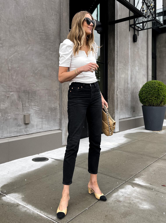 Fashion Jackson Wearing Amazon Fashion White Puff Sleeve Top Levis Black Jeans Chanel Slingbacks (1)