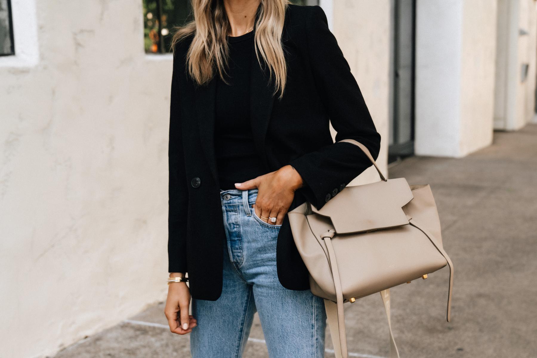 Fashion Jackson Wearing Anine Bing Black Blazer Levis Jeans Celine Mini Belt Bag Taupe