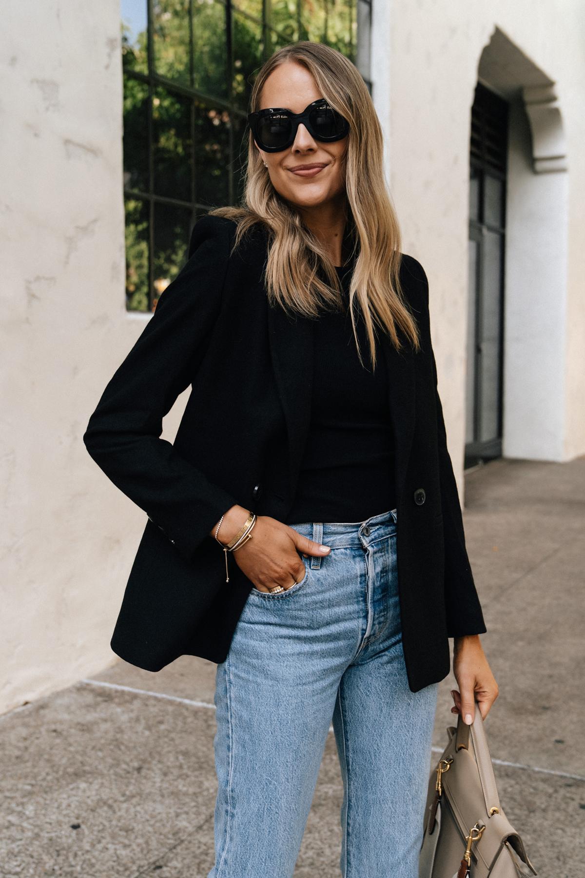 Fashion Jackson Wearing Anine Bing Black Blazer Levis Jeans