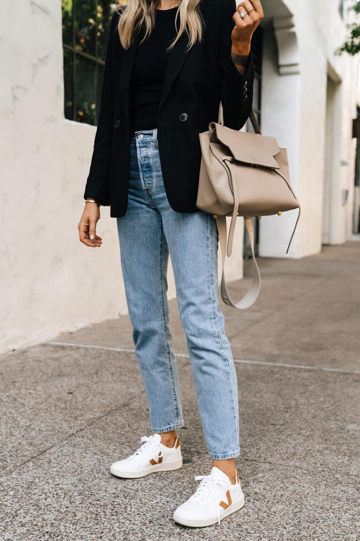 Fashion Jackson Wearing Anine Bing Black Blazer Levis Straight Leg Jeans Veja V10 Camel Whit Sneakers Celine Mini Belt Bag Taupe