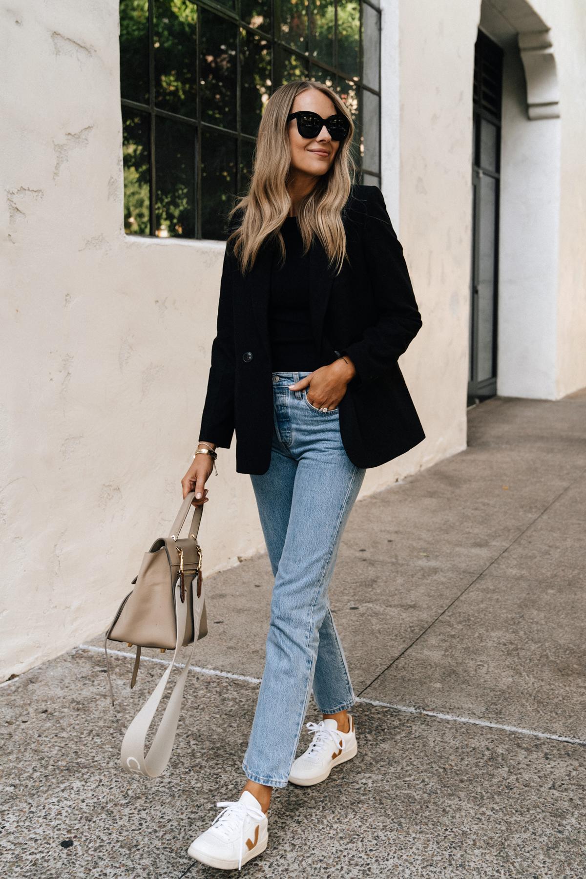 Fashion Jackson Wearing Anine Bing Black Blazer Levis Straight Leg jeans Veja V10 Camel White Sneakers Celine Mini Belt Bag Taupe Fall Outfit Street Style