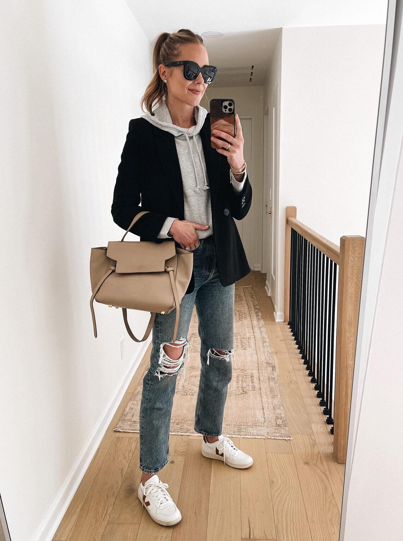Fashion Jackson Wearing Black Blazer Grey Hoodie Sweatshirt Ripped Jeans Veja Sneakers Celine Mini Belt Bag Fall Outfit