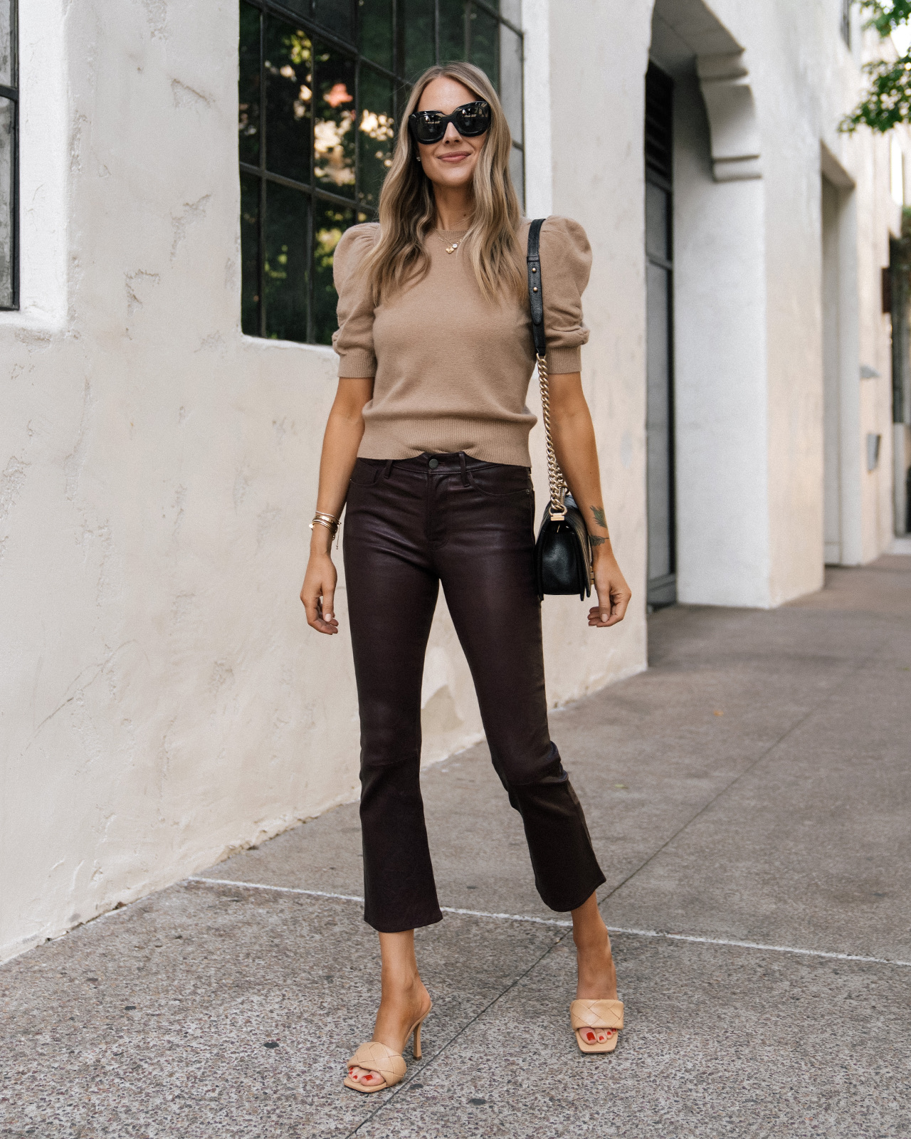 Fashion Jackson Wearing Camel Puff Sleeve Sweater Burgundy Leather Pants Tan Heeled Sandals Chanel Black Boy Bag